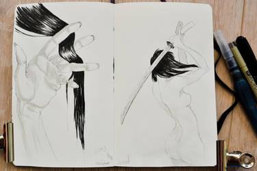 Inktober 2017 days 5+6 : Long +Sword by Owl-On-Tree