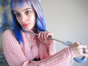 Blue Hair and A Dinosaur Umbrella 02 by JLorraine-Stock