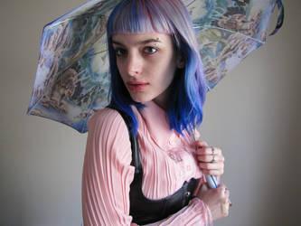 Blue Hair and A Dinosaur Umbrella 04 by JLorraine-Stock
