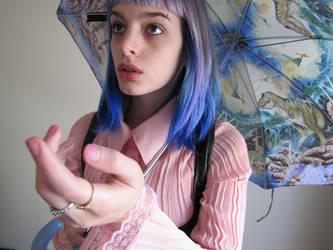 Blue Hair and A Dinosaur Umbrella 05 by JLorraine-Stock