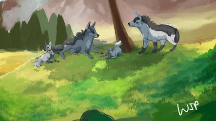 Gaggle of Mightyena - WIP by Susiron