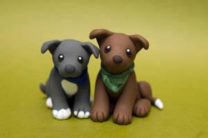 Two Pitties dog sculpture by SculptedPups