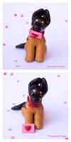 Valentine's German Shepherd Pup with love letter by SculptedPups