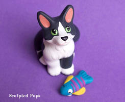Lucky the cat with toy sculpture by SculptedPups