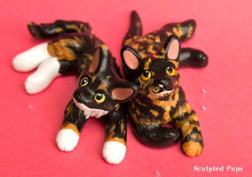 Scarlett and Darcy cat commissions by SculptedPups