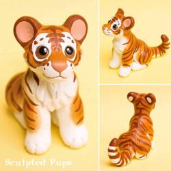 Golden tiger cub sculpture by SculptedPups