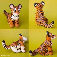 Tiger cub sculpture commission by SculptedPups