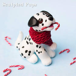 Dalmatian pup with candy canes by SculptedPups