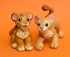 Simba and Nala lion cubs by SculptedPups