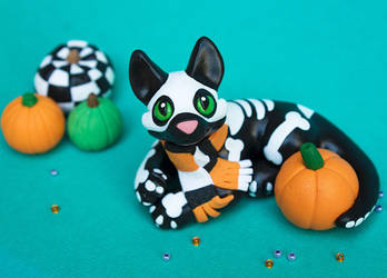 Halloween Skeleton kitty sculpture by SculptedPups