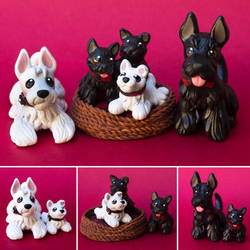 Sculptober day 1: family! Scottish terrier family! by SculptedPups
