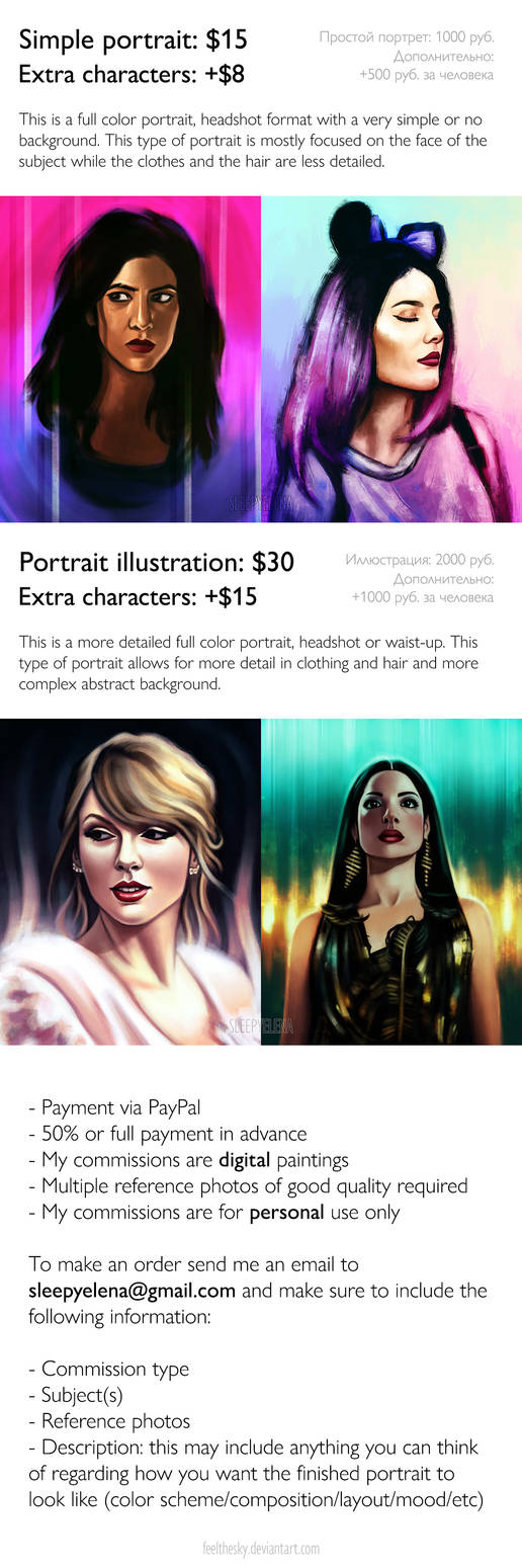 Portrait Commissions by feelthesky