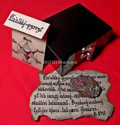Wooden box chalcopyrite Galactic Esperanto by Fabrykanina