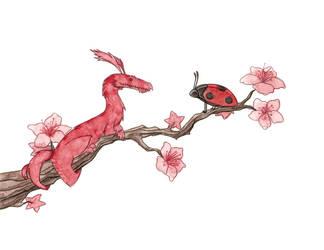 Teeny Tiny Dragon and Ladybird by morganobrienart