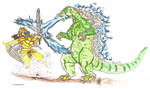 Godzilla vs. Goldar by kaijulord21