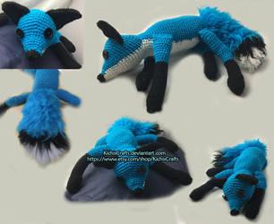 Crochet Blue Fox Plush by KichisCrafts