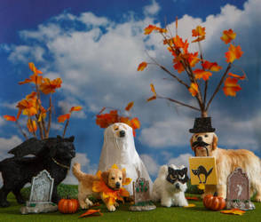 Dollhouse Miniature 1:12 Halloween Pups by heartfeltcanines