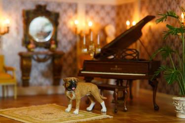 Dollhouse Miniature 1:12 American Bulldog by heartfeltcanines