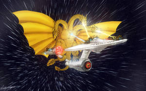King Ghidorah vs. NCC-1701 by nickagneta