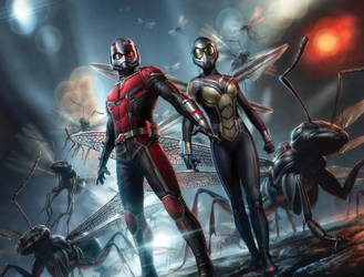 Ant-Man, The Wasp, And A Army Of Flying Ants by MrWonderWorks