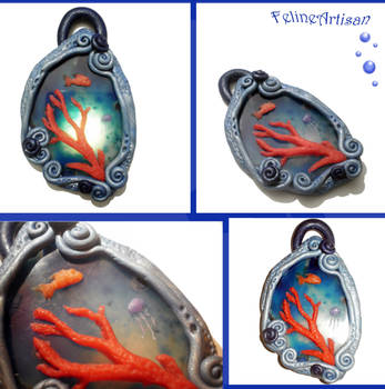 Agate Coral Reef Pendant by FelineArtisan