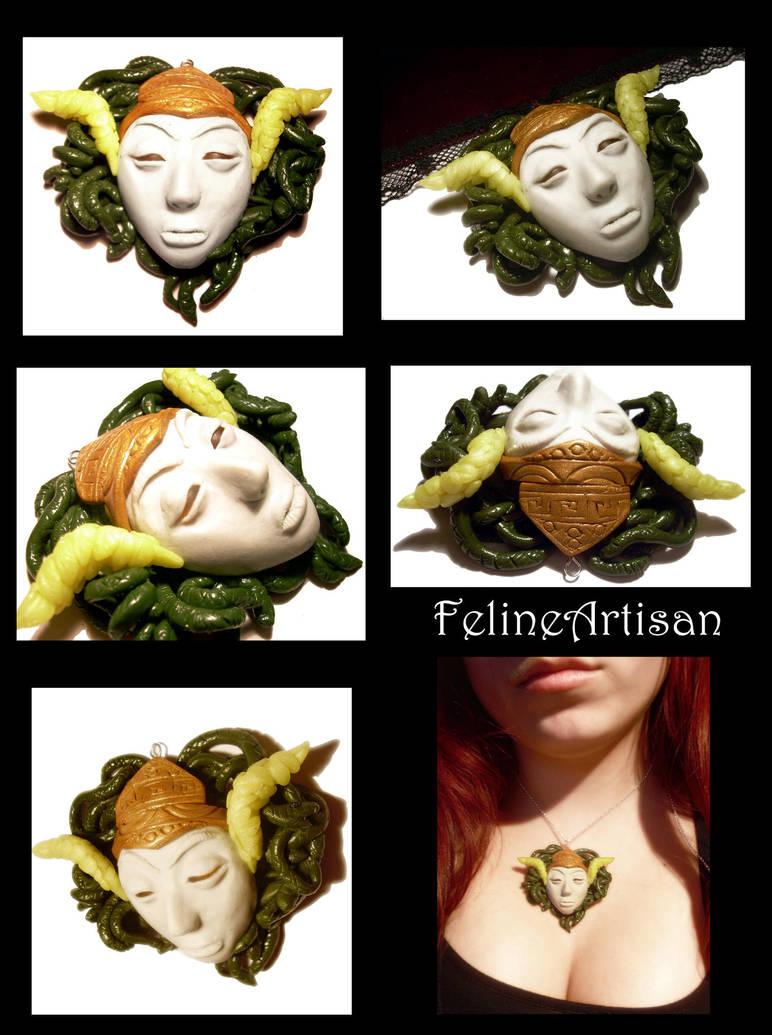 Medusa Head Pendant by FelineArtisan