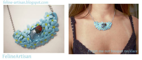 Forget-me-not Bouquet Pendant by FelineArtisan