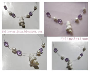 Sea Reminder Necklace - Pearls and Amethyst by FelineArtisan