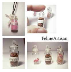 Miniature bottles pendants by FelineArtisan