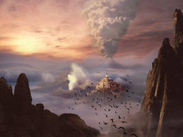 Misty Abbey Matte Painting by misister