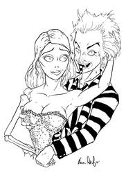 Beetlejuice And Emily Corpse Bride Coloring Page By Aarondarkk