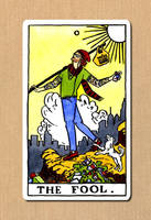 The Hipster Fool Tarot Card by nydwyngreendragon