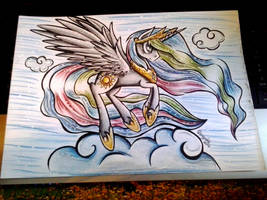 MLK - Princess Celestia on a cloud - A4 by Julunis14