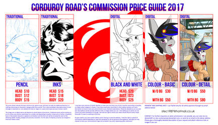 Corduroy Road's Commission Price Guide 2017/2018 by stec-corduroyroad