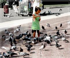 pigeons arround her. by steeerne
