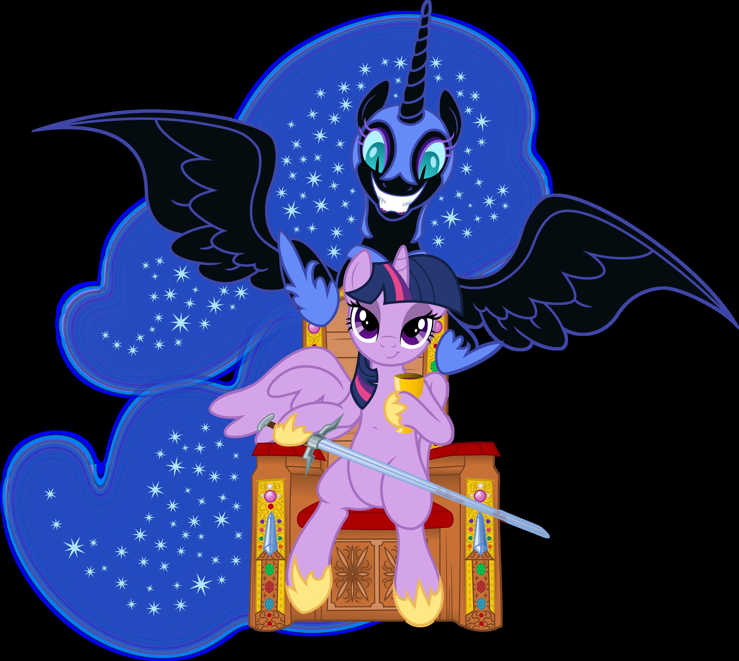 Vector Twilight Sparkle and Nightmare Moon by DeyrasD