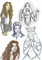 Alice and White Queen Roughs by FemFishTherein5