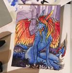 Aceo #25 Phoenix dragon by Aurumorea