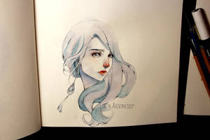 Watercolor  portrait - video by Tiali