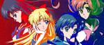 Crystal Inner Senshi Laserdisc redraw Combo by SailorGigi