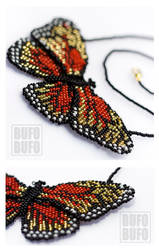 Fiery Butterfly beaded necklace by psihoze