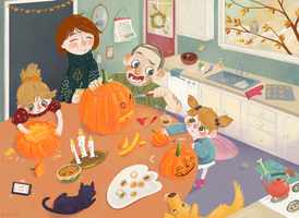 Family Pumpkin Carving by JennyRex