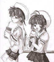 sakura and shaoran, icecream by SsIGeS7