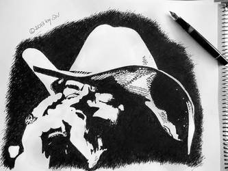 Malcolm - black ink (fountain pen) on paper by morgain-ized