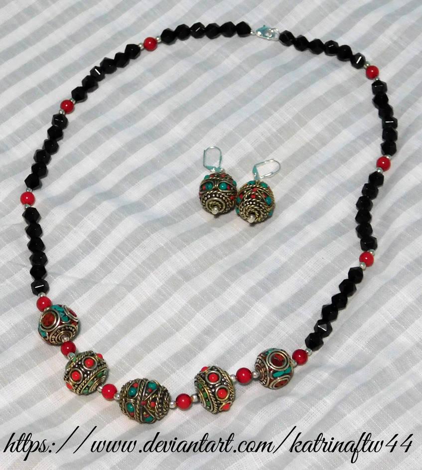 Black Onyx, Coral and Nepali Bead Set by KatrinaFTW44