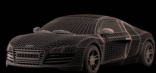 Audi R8 Advanced CG Model - Wireframe by BethsFienneArt