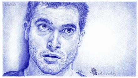 Tyler Hoechlin. Blue biro by artisticartery