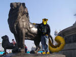 Anthro me and lion statue by camerajaguar