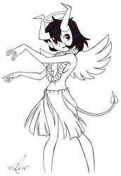 Hula Angel Devil Girl by EddiePerkins