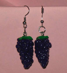 Clay Grape Earrings Commission by Erajia